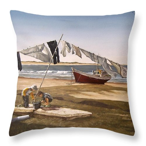 Kids Seascape Boat Painting Portrait Figurative Seascape Sea Throw Pillow featuring the painting Sea Kids by Natalia Tejera
