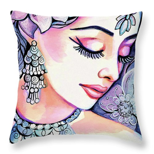 Indian Woman Throw Pillow featuring the painting Sea Mist by Eva Campbell