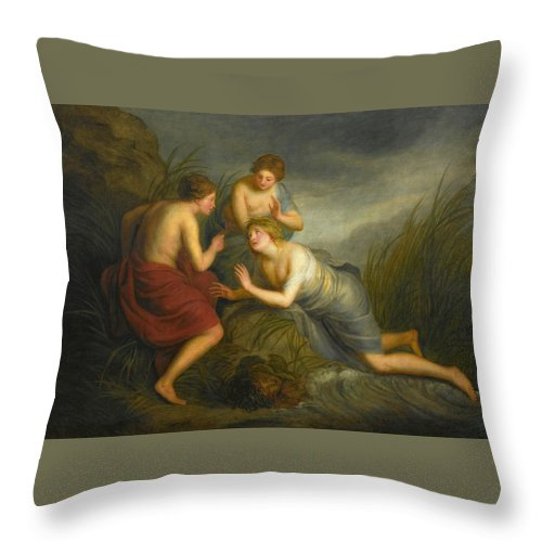Attributed To Andries Cornelis Lens Throw Pillow featuring the painting Sea Nymphs Discovering The Hair Of Medusa Turning To Coral by Attributed to Andries Cornelis Lens