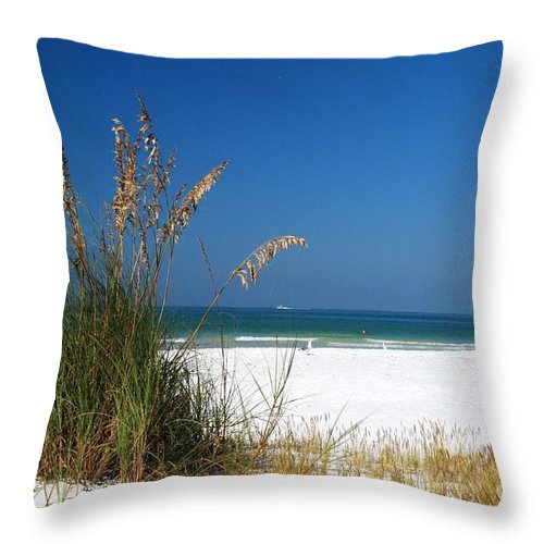 Sea Oats Throw Pillow featuring the photograph Sea Oats by Gary Wonning