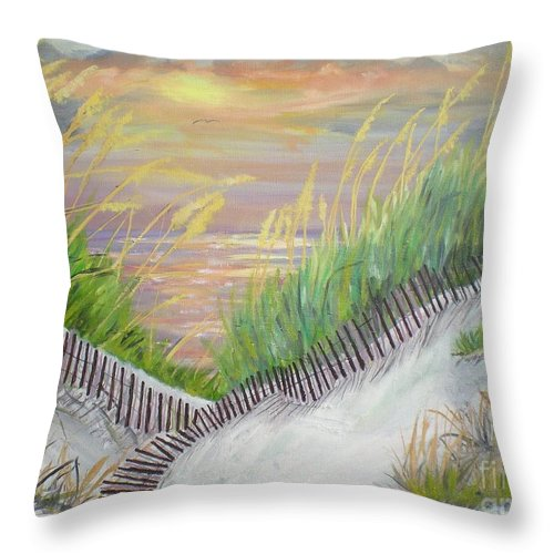 Seascape Throw Pillow featuring the painting Sea Oats by Hal Newhouser