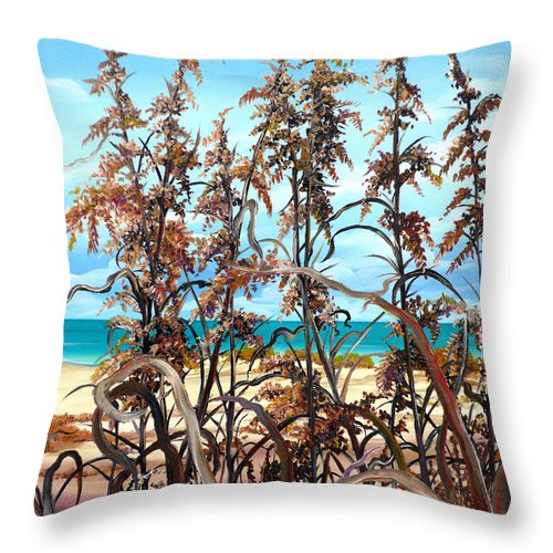 Ocean Painting Sea Oats Painting Beach Painting Seascape Painting Beach Painting Florida Painting Greeting Card Painting Throw Pillow featuring the painting Sea Oats by Karin Dawn Kelshall- Best