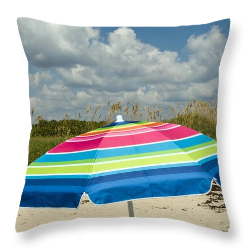 Florida; Beach; Coast; Shore; Atlantic; East; Waves; Sand; Dunes; Sea; Oats; Seaoats; Plant; Grass; Throw Pillow featuring the photograph Sea Oats On The Beach by Allan Hughes