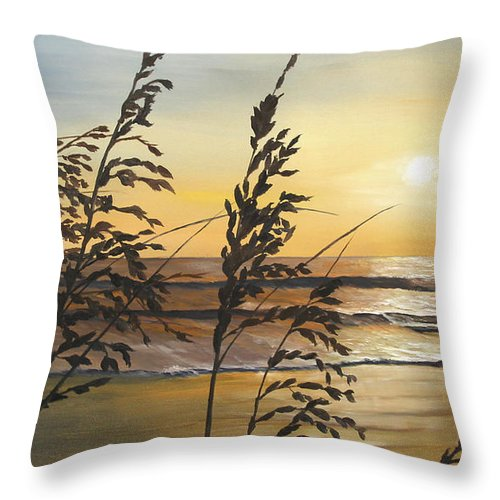 Nature Throw Pillow featuring the painting Sea Oats Silhouette At Sunset by Johanna Lerwick