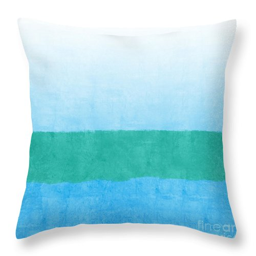 Abstract Throw Pillow featuring the mixed media Sea Of Blues by Linda Woods
