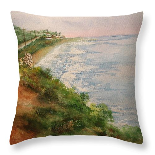 Landscape Throw Pillow featuring the painting Sea Of Dreams by Debbie Lewis