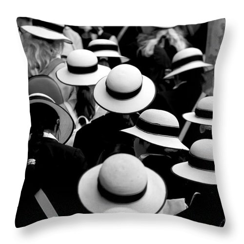 Hats Schoolgirls Throw Pillow featuring the photograph Sea Of Hats by Sheila Smart Fine Art Photography