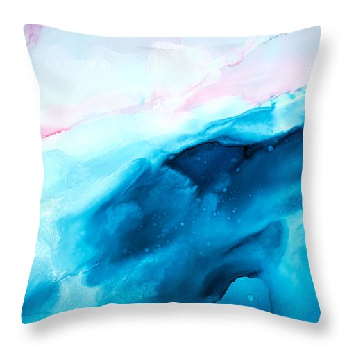 Abstract Throw Pillow featuring the painting Sea of Love - A by Sandy Sandy