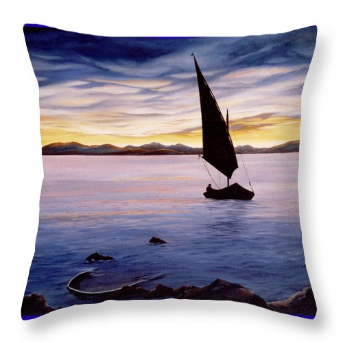 Seascape Throw Pillow featuring the painting Sea Of Souls by Mark Cawood