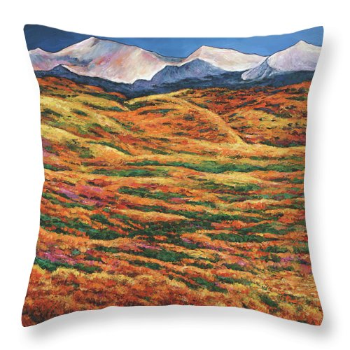 Autumn Aspen Throw Pillow featuring the painting Sea of Tranquility by Johnathan Harris