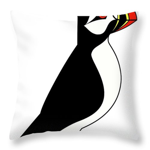 Sea Parrot From Iceland Throw Pillow featuring the digital art Sea Parrot from Iceland by Asbjorn Lonvig