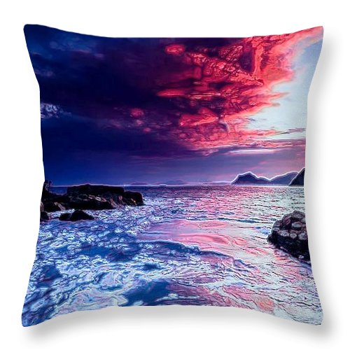 Seascape Throw Pillow featuring the digital art Sea Scape by Michael Todd
