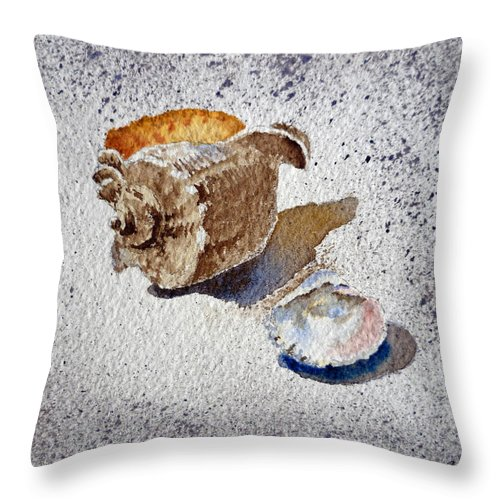 Sea Shells Throw Pillow featuring the painting Sea Shells by Irina Sztukowski
