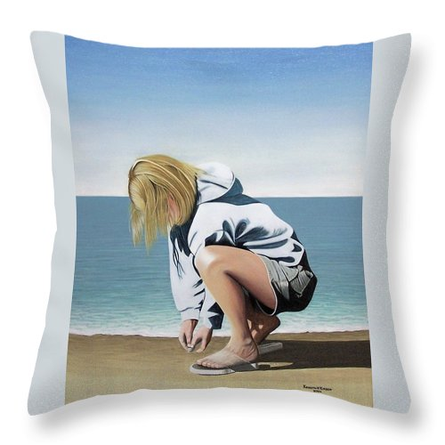 Landscape Throw Pillow featuring the painting Sea Shells On The Beach by Kenneth M Kirsch