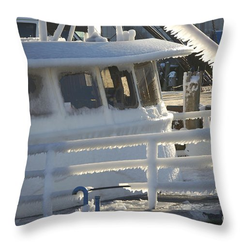 Fishing Throw Pillow featuring the photograph Sea Spray Ice by Faith Harron Boudreau
