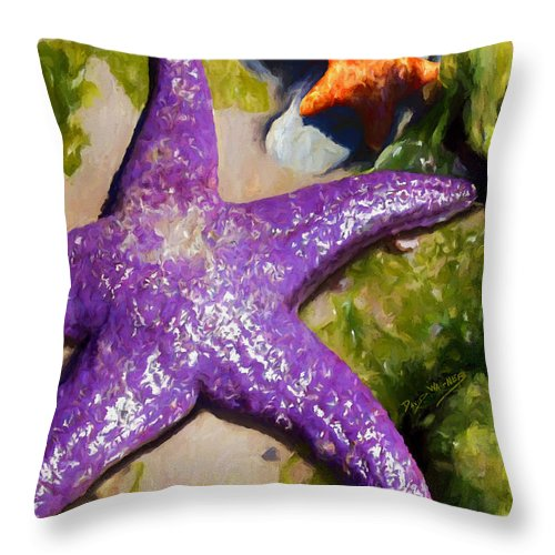 Sea Stars Throw Pillow featuring the painting Sea Stars by David Wagner