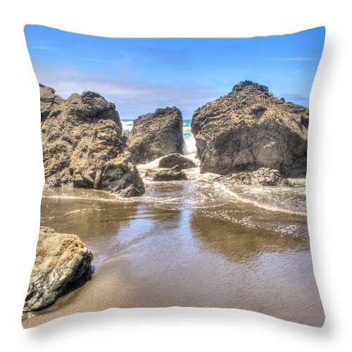 Landscape Throw Pillow featuring the photograph Sea Stones by Josh Meier