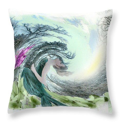 Young Girl Throw Pillow featuring the photograph Sea Storm by Rose Guay