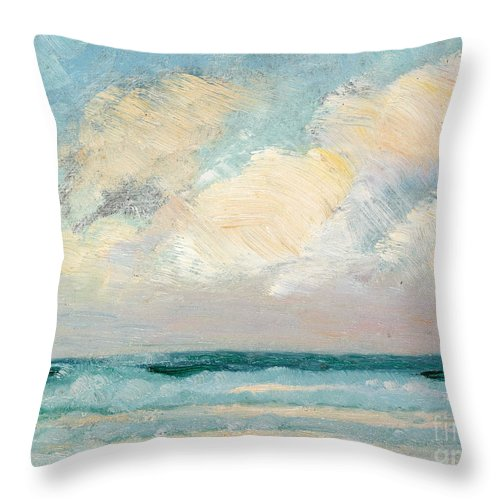 Seascape Throw Pillow featuring the painting Sea Study, Morning by AS Stokes