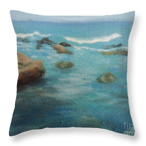 Ocean Throw Pillow featuring the painting sea by Teenu Jacob