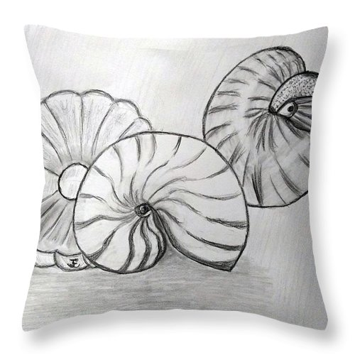 Nautilus Throw Pillow featuring the drawing Sea Treasures by Janet Ledbetter-Eck