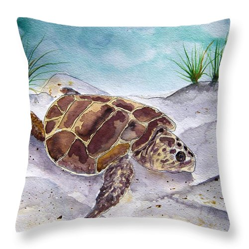 Sea Turtle Throw Pillow featuring the painting Sea Turtle 2 by Derek Mccrea