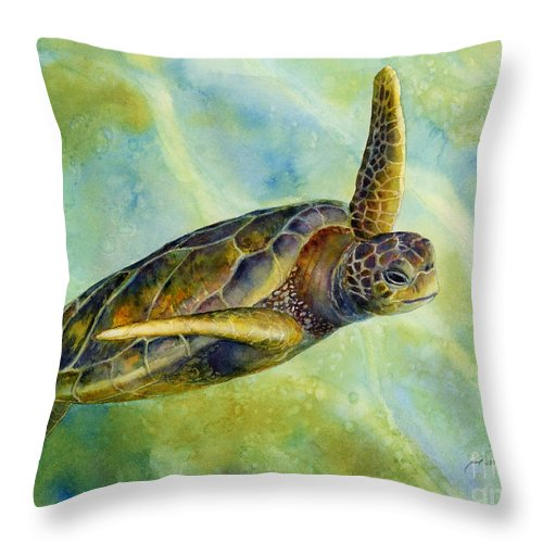 Underwater Throw Pillow featuring the painting Sea Turtle 2 by Hailey E Herrera