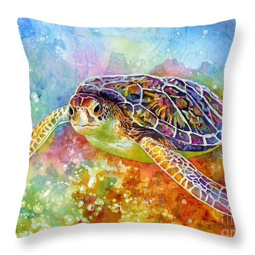 Turtle Throw Pillow featuring the painting Sea Turtle 3 by Hailey E Herrera