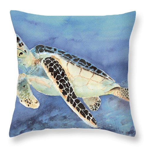 Green Sea Turtle Throw Pillow featuring the painting Sea Turtle by Arline Wagner