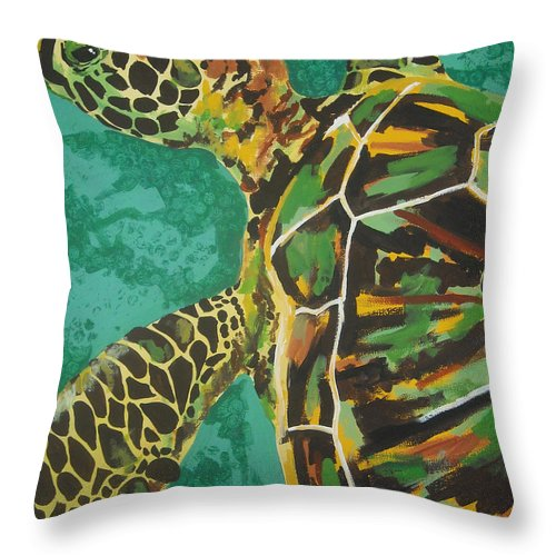 Turtle Throw Pillow featuring the painting Sea Turtle by Caroline Davis