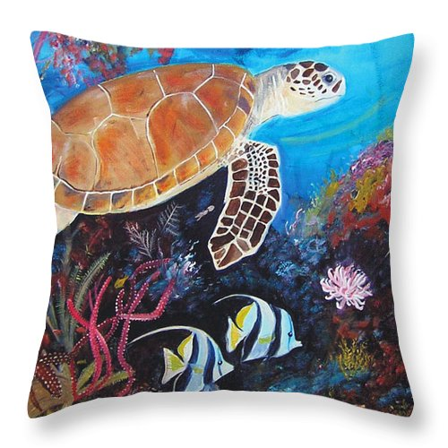 Sea Turtle Throw Pillow featuring the painting Sea Turtle by Joyce Huber