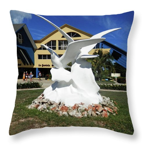 Statue Throw Pillow featuring the photograph Seabird Statue by Pema Hou