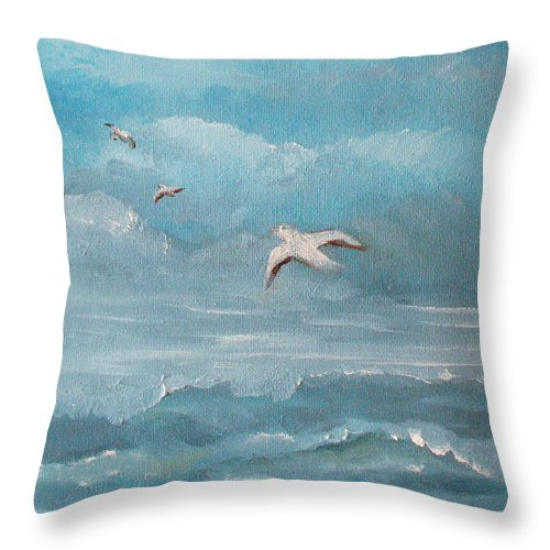 Seascape Throw Pillow featuring the painting Seabirds by Catherine Sprague