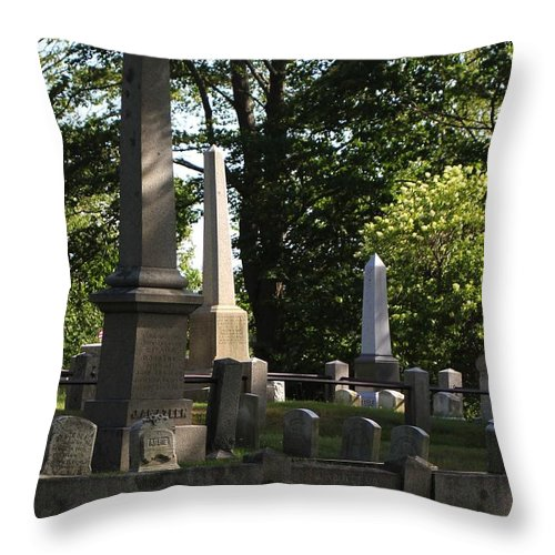 Cemetery Throw Pillow featuring the pyrography Seacoast Cemetery by Robert Morin