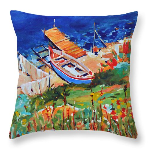 Seascape Throw Pillow featuring the painting Seacoast by Iliyan Bozhanov