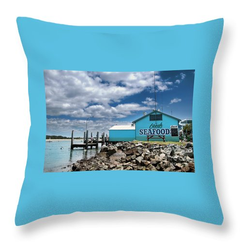 Photography Throw Pillow featuring the photograph Seafood On The River by Kaye Menner