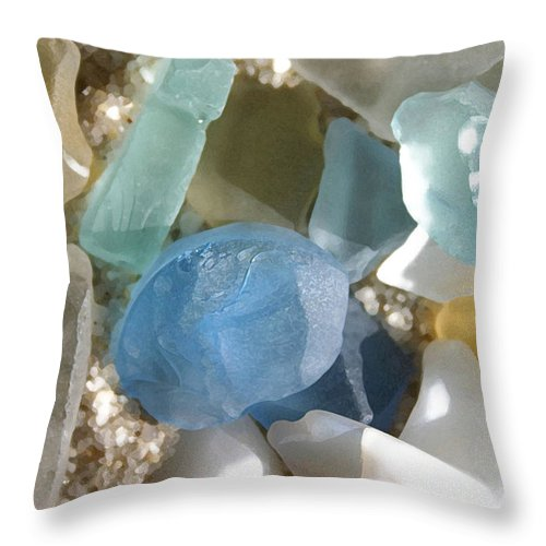 Seaglass Throw Pillow featuring the photograph Seaglass by Mary Haber
