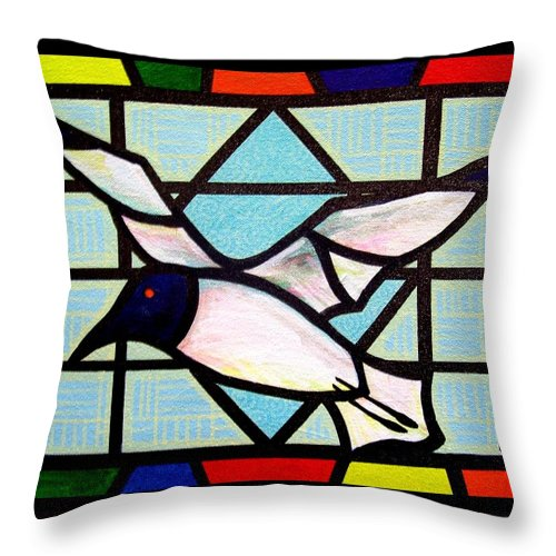 Seagull Throw Pillow featuring the painting Seagull Serenade by Jim Harris