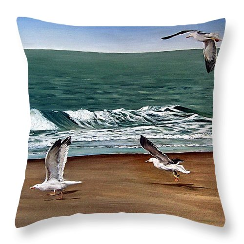 Seascape Throw Pillow featuring the painting Seagulls 2 by Natalia Tejera