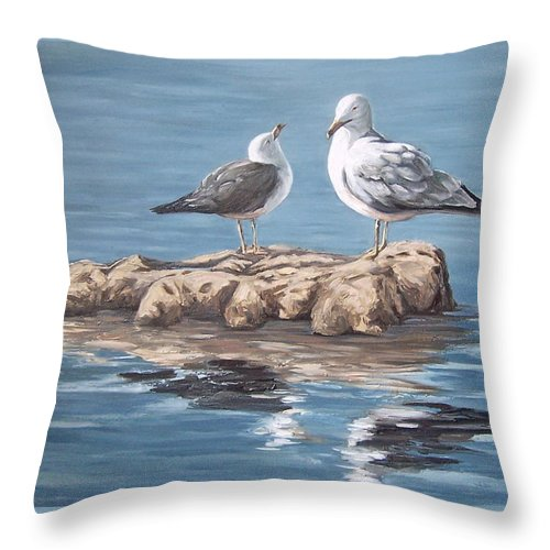 Seagulls Sea Seascape Water Bird Throw Pillow featuring the painting Seagulls In The Sea by Natalia Tejera