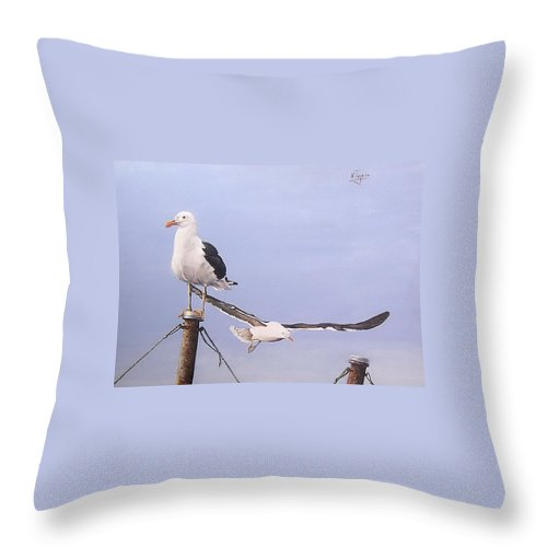 Seascape Gulls Bird Sea Throw Pillow featuring the painting Seagulls by Natalia Tejera