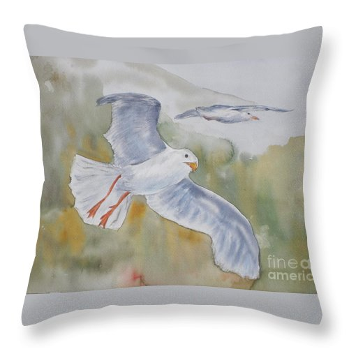 Souring Throw Pillow featuring the painting Seagulls Over Glacier Bay by Vicki Housel