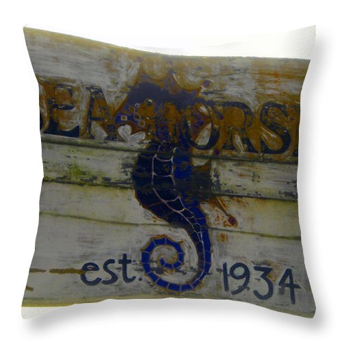 Seahorse Throw Pillow featuring the painting Seahorse Est. 1934 by David Lee Thompson