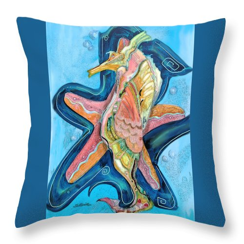 Seahorse Throw Pillow featuring the painting Seahorse by Shane Guinn