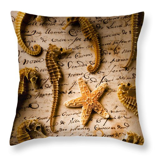 Seahorses Starfish Old Letter Words Throw Pillow featuring the photograph Seahorses And Starfish On Old Letter by Garry Gay