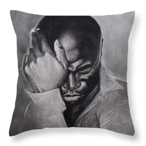 Seal Drawings Veronica Jackson Black And White Pencil Throw Pillow featuring the drawing Seal by Veronica Jackson