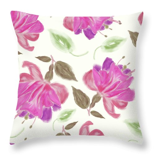 Flower Throw Pillow featuring the digital art seamless  pattern of watercolor Fuchsia Flowers by Svetlana Foote