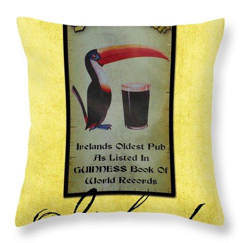 Irish Throw Pillow featuring the photograph Seans Bar Guinness Pub Sign Athlone Ireland by Teresa Mucha