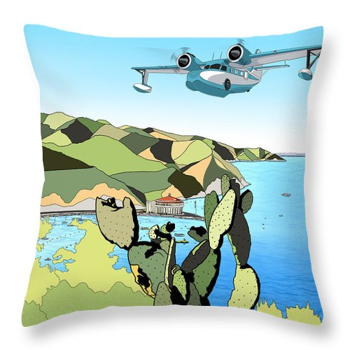 Mambasart Throw Pillow featuring the digital art Seaplane 3 by Carlos Martinez