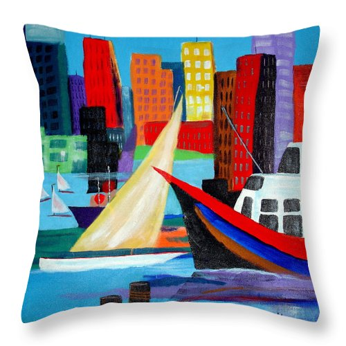 Ship Throw Pillow featuring the painting Seaport by Susan Kubes